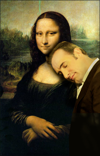 Jean Dujardin spleeping on Mona Lisa.